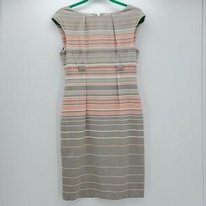 CALVIN KLEIN gray & orange stripe sheath dress